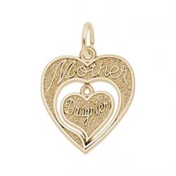 Yellow Gold Mother Daughter Hearts Charm