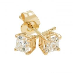 Yellow Gold Princess Diamond Solitaire Stud Earrings 1/2ctw