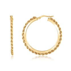 Yellow Gold Rope Edge Hoop Earrings, 36mm