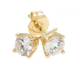 Yellow Gold Round Diamond Solitaire Stud Earrings 1/2ctw