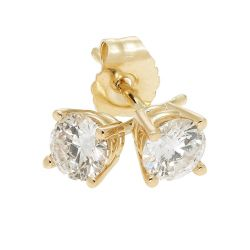 Yellow Gold Round Diamond Solitaire Stud Earrings 1/3ctw