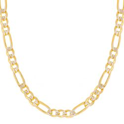 Two-Tone Pave Figaro Chain 3.9mm
