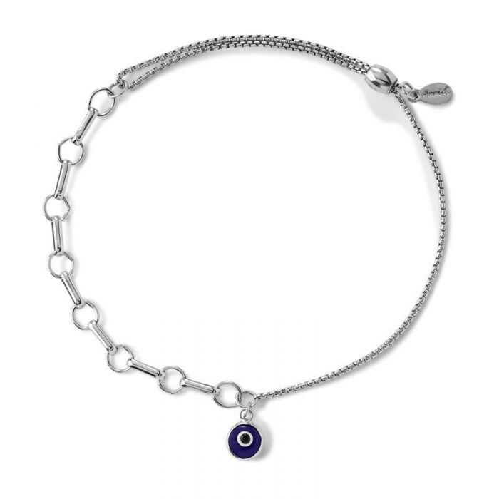 Alex And Ani Evil Eye Bar Ring Pull Chain Bracelet Sterling Silver