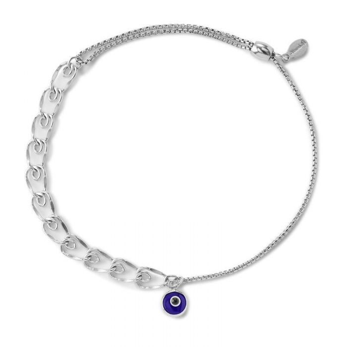 Alex And Ani Evil Eye Heart Pull Chain Bracelet Sterling Silver