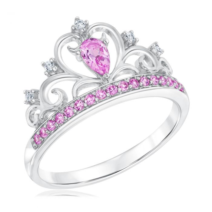 Created Pink And White Sapphire Tiara Princess Ring Item