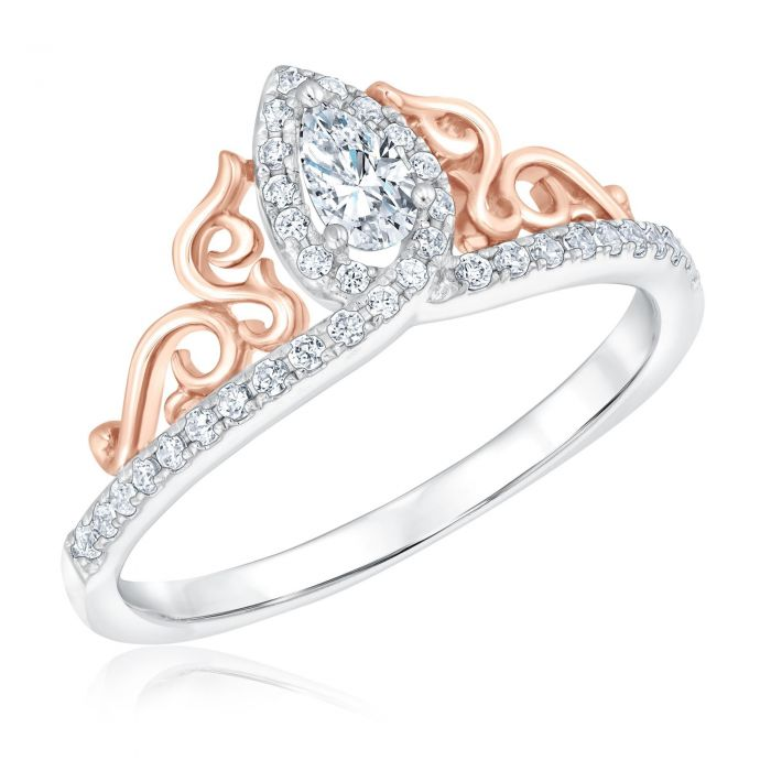 786294118038 Enchanted Disney Fine Jewelry Princess Tiara Pear Diamond Engagement Ring  3 8ctw - Item 19892678