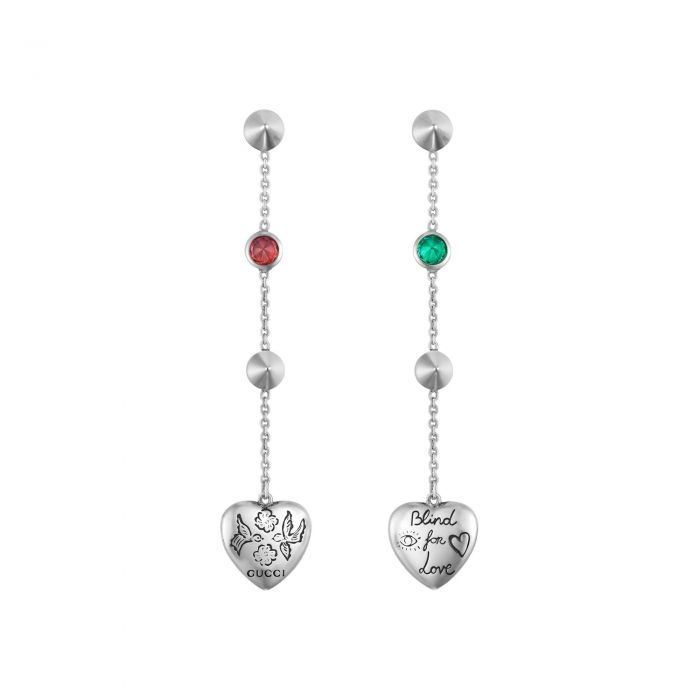 8e08fa139c0 Gucci Blind for Love Sterling Silver Drop Earrings - Item 19880293 ...