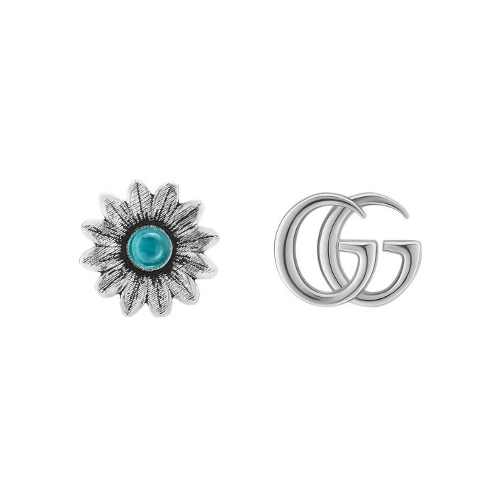 2c62cfbf2fd Gucci GG Marmont Sterling Silver Double G and Flower Stud Earrings - Item  19880343