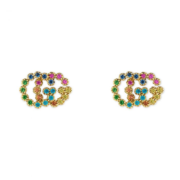 3841d42f29e Gucci GG Yellow Gold Multi-Colored Crystal Stud Earrings - Item 19920362