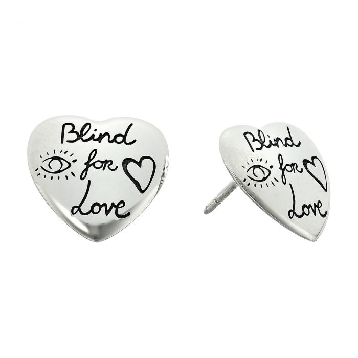 fea1a9f34df Gucci Sterling Silver Blind for Love Engraved Heart Stud Earrings - Item  19756246