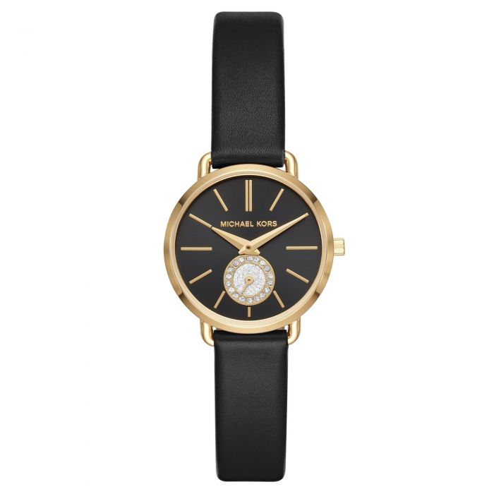 e7dbba9b338e Ladies  Michael Kors Petite Portia Black Leather Strap Watch MK2750 - Item  19908078