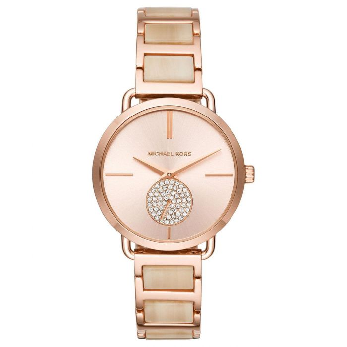 Ladies michael kors portia rose gold tone stainless steel and ladies michael kors portia rose gold tone stainless steel and champagne acetate bracelet watch gumiabroncs Images