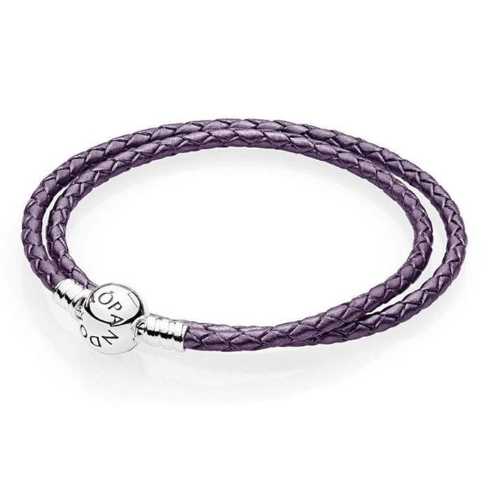 Pandora Purple Braided Double Leather Charm Bracelet 16 1inches