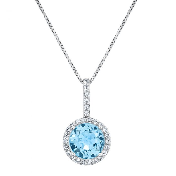Round blue topaz and white topaz halo sterling silver pendant item round blue topaz and white topaz halo sterling silver pendant aloadofball Choice Image