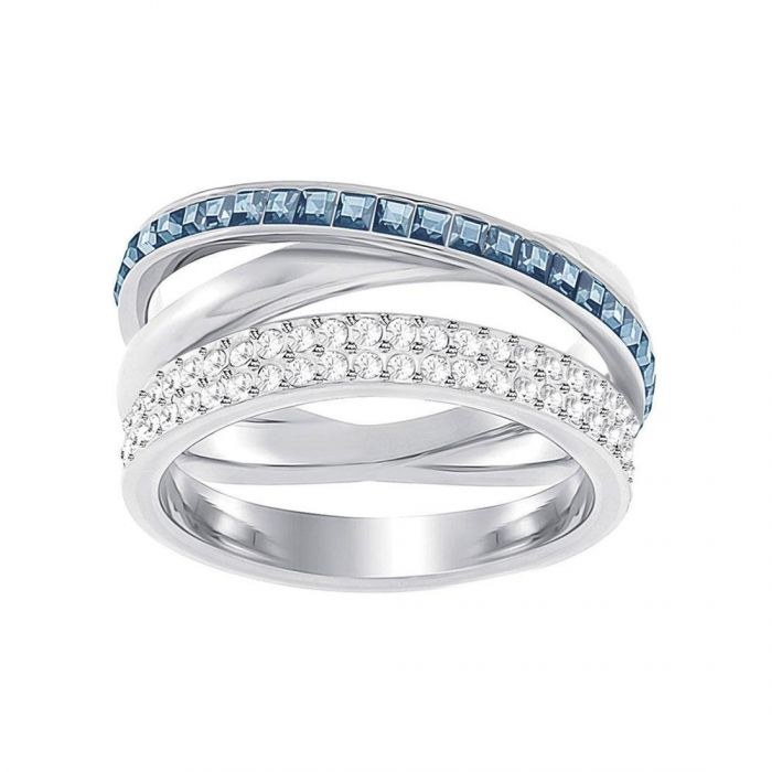 7152adeefe46 Swarovski Crystal Blue Hero Rhodium-Plated Ring - Size 8 - Item 19808823