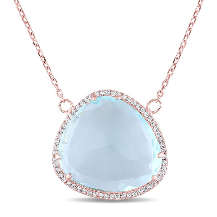 Synthetic blue topaz and white topaz rose gold plated necklace synthetic blue topaz and white topaz rose gold plated necklace aloadofball Gallery