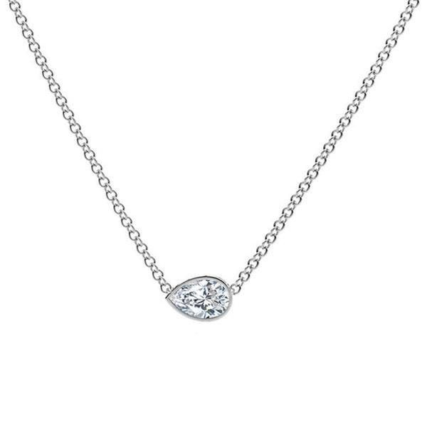 silver sterling diamond pendant gifts shape under ctw pear