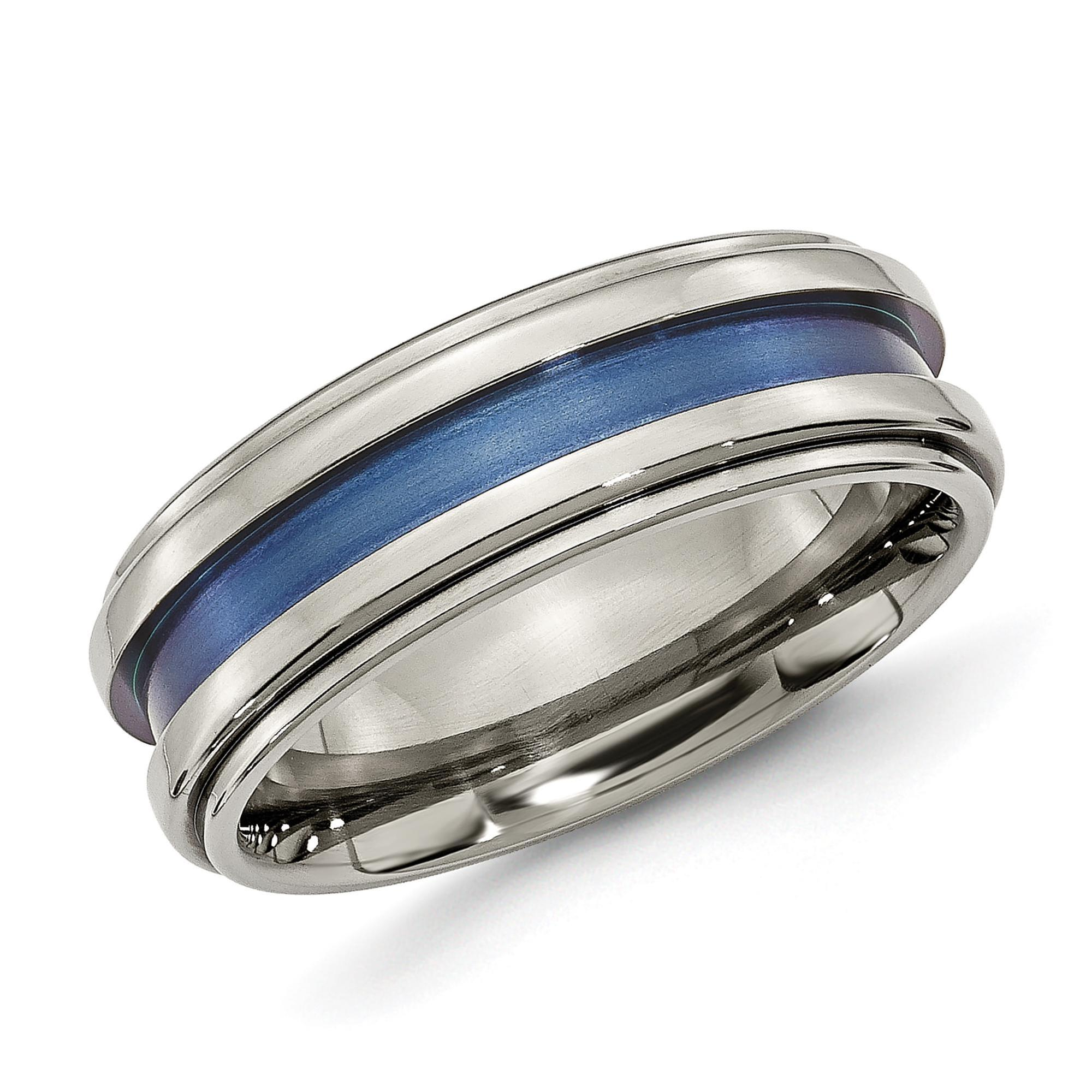 Men's Titanium 8mm Blue Inlay Grooved Band