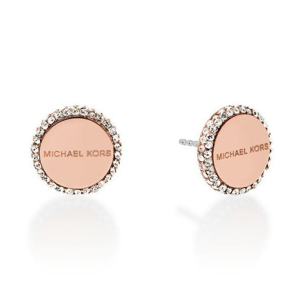 Michael Kors Rose Gold-Tone Logo Stud Earrings