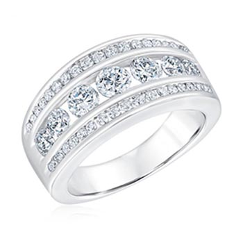 Ellaura Embrace Three Row Channel Set Round Diamond Anniversary Band 1 1/2ctw