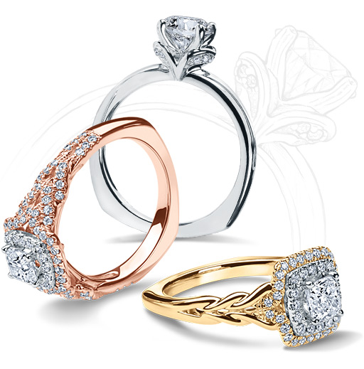 3 Kleinfeld rings, each named after a street in New York City