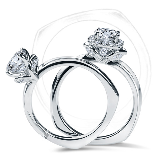 Kleinfeld fine jewelry settings, with two diamond rings.