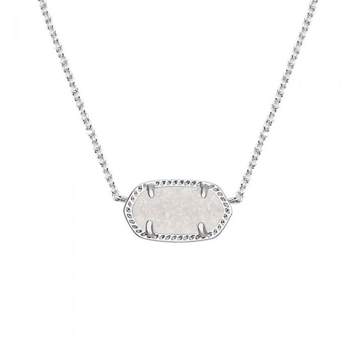 Kendra Scott Necklace, Silver Tone Elisa in Iridescent Drusy