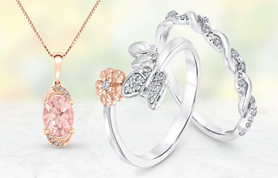 Rose Gold Morganite Pendant and Two Silver Diamond Rings