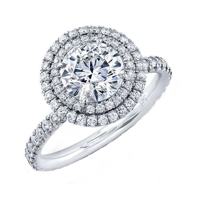 Forevermark Round Diamond Double Halo Engagement Ring 7/8ctw