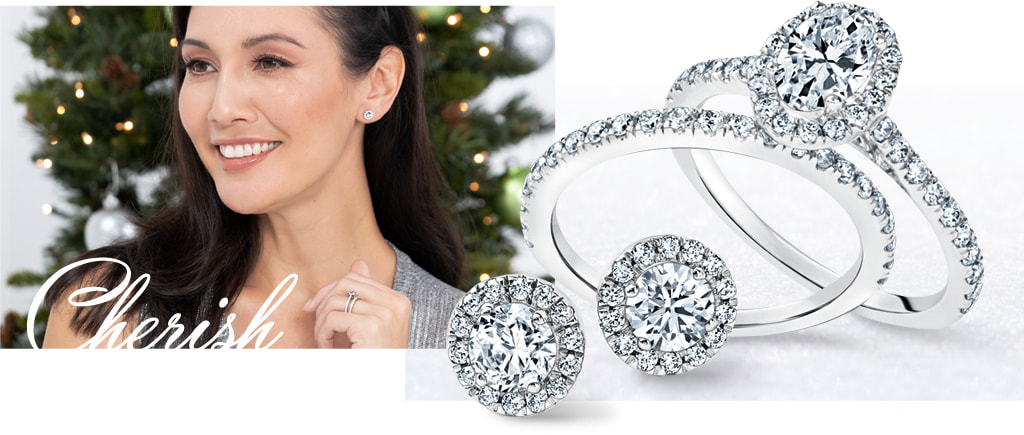 Cherish -- Diamond rings and earrings for Christmas Collections