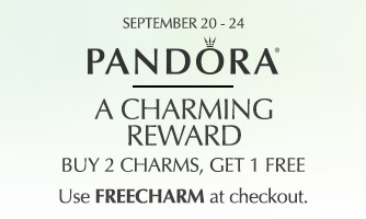 Buy 2 PANDORA charms, get 1 FREE! Excludes Shine and Disney.