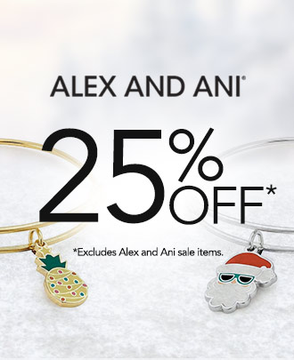 Alex and Ani logo. 25% off.* Excludes Alex and Ani sale items.