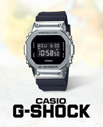 Casio G-Shock. Images features a Casio G-Shock watch with a black strap and a silver toned case.