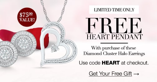Limited Time Only: FREE Heart Pendant with the purchase of the diamond cluster halo earrings. Use code HEART at checkout. Click to get your free gift.