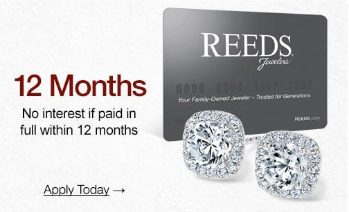 Why wait? Order now, pay later! Financing available. Apply Now. Image shows the REEDS Credit Card.