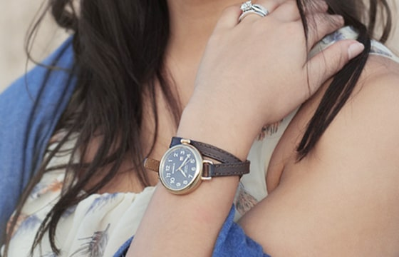 Close -up image of a Shinolah watch on a ladies wrist